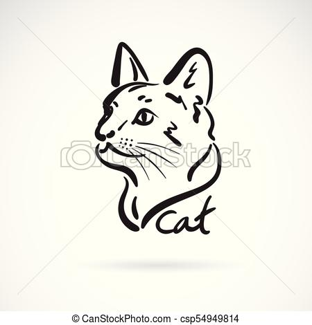 450x470 Vector Of A Cat Head On White Background. Pet. Animal. Easy