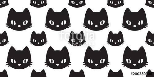500x250 Cat Seamless Pattern Cat Head Vector Kitten Isolated Background