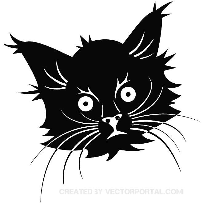 660x660 Black Cat Head Free Vector