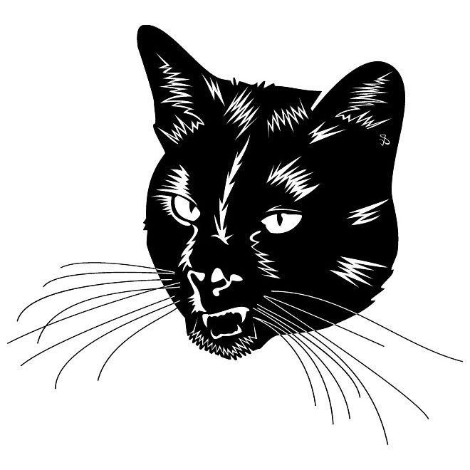 660x660 Black Cat Head Free Vector 123freevectors