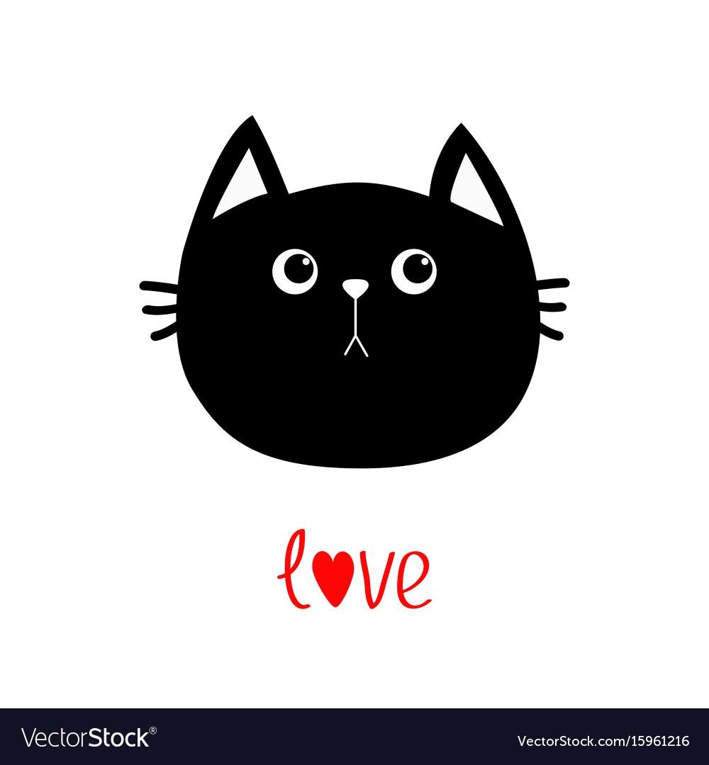 1000x1080 Black Cat Head Icon Cute Funny Cartoon Character Vector 15961216