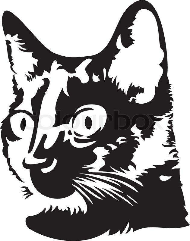 630x800 Black Cat Head Silhouette Stock Vector Colourbox