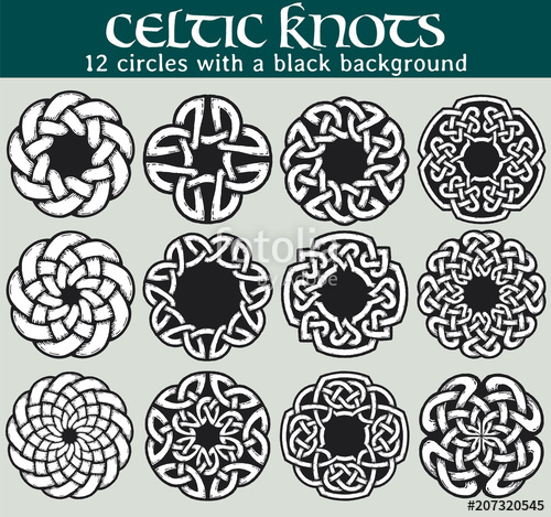 500x469 Celtic Knots, Circles With A Black Background. Set Of 12 Circles