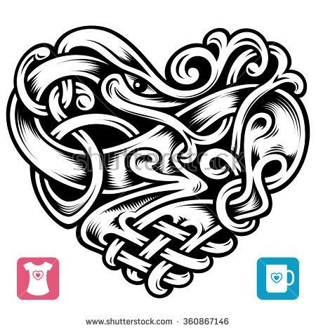 450x470 Vector Celtic Pattern In The Shape Of Heart Tattoos