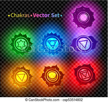450x424 Vector Set Of Illustrations Of 3d Chakra Symbols With Neon Glow On