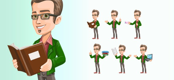 594x274 Free Vector Smart Guy Character