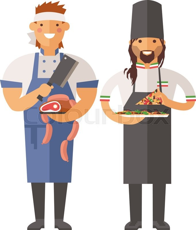 683x800 Sartoon Butcher And Pizza Chef Vector Character Illustration