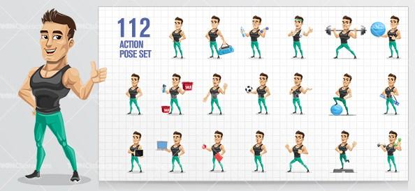 594x274 Sportsman Vector Character Design