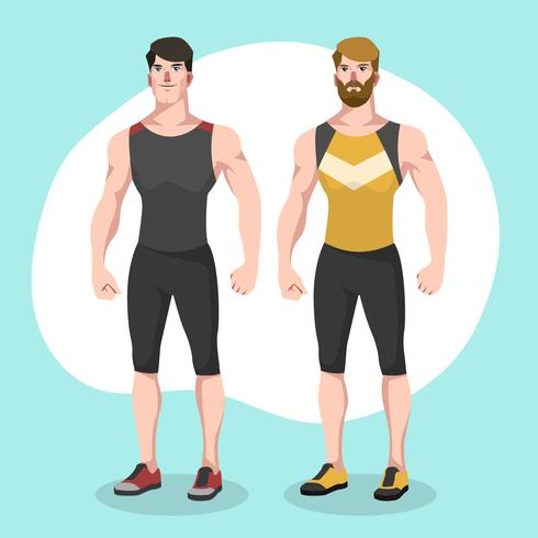 490x490 Two Man Stylish Fitness Trainer Vector Character Illustration