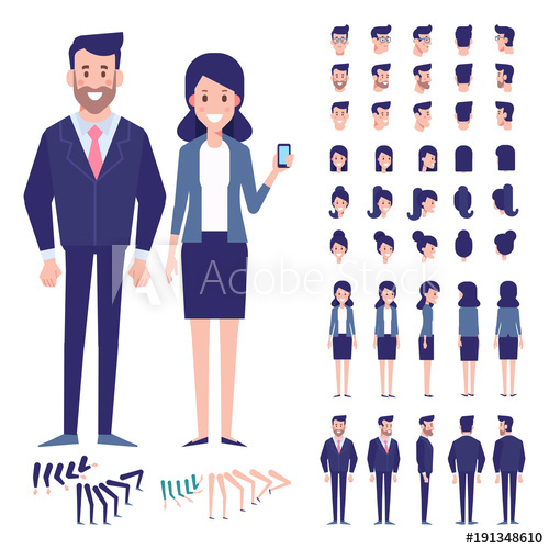 500x500 Vector Character Set For Animation.business People