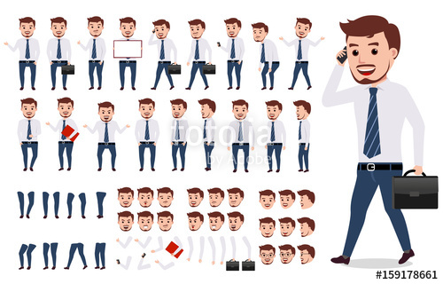 500x320 Business Man Character Creation Set. Male Vector Character Walking