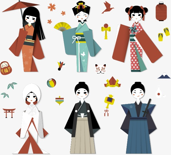 601x544 Japanese Kimono Vector Character Design Material, Japanese Element