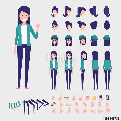500x500 Young Woman Character For Your Scenes. Flat Vector Character