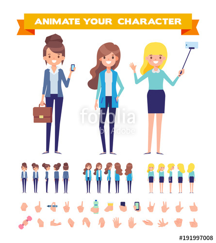 445x500 Flat Vector Girls For Your Scenes. Front, Side, Back View