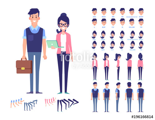 500x388 Flat Vector Character Set For Animation. Business People