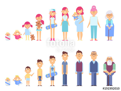 500x375 Set Of Characters In A Flat Style. Men And Women Characters, The