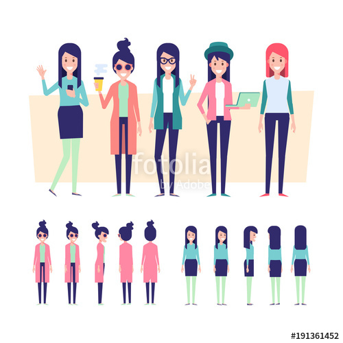 500x500 Young Girls Vector Set. Front, Side, Back View Characters For