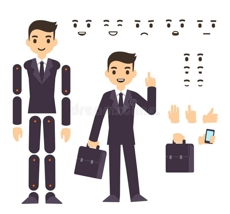 800x745 Businessman Character Animation Stock Vector Kawaii