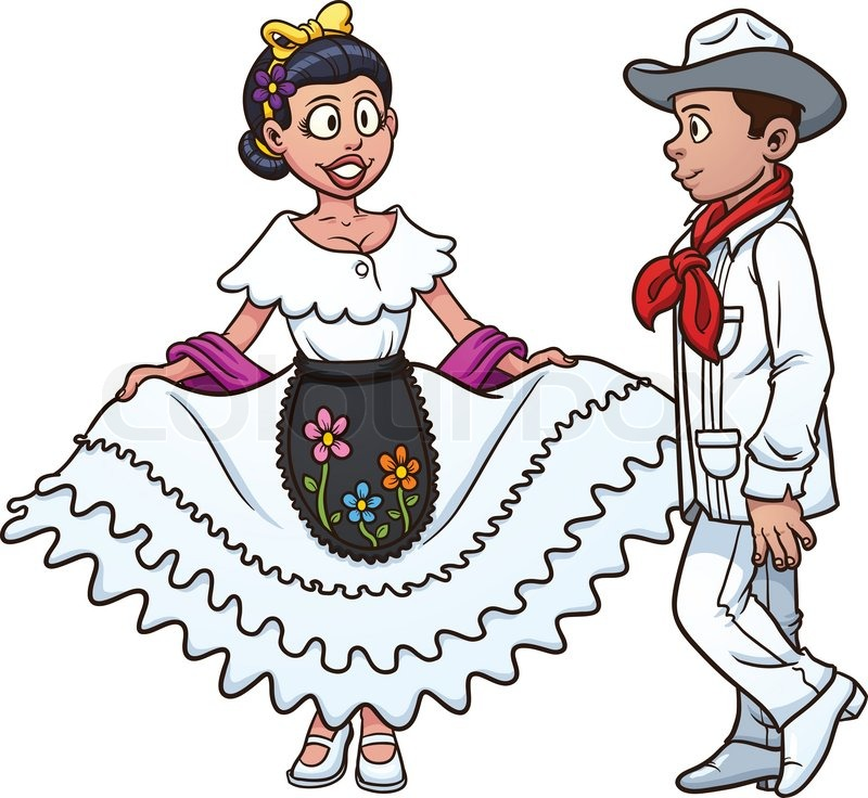 800x736 Mexican Couple Dancing. Vector Illustration With Simple Gradients