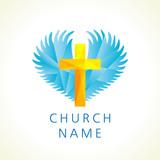 160x160 Cross On Fire Christian Church Logo. Vector Icon For Churches