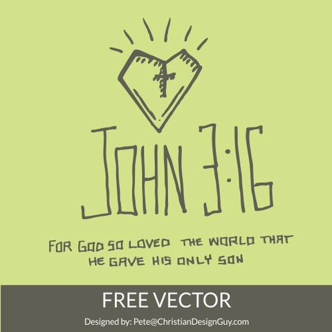 480x480 Free John 316 Bible Verse Christian Vector Church Clipart