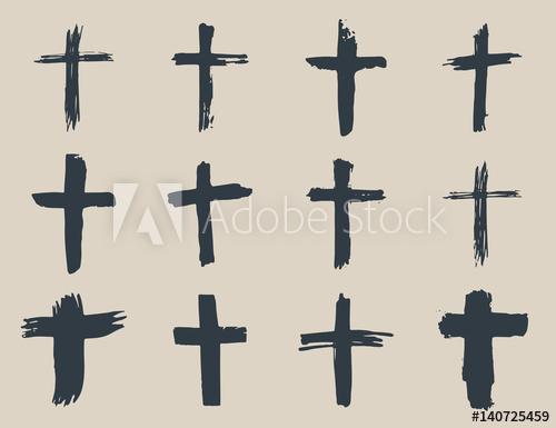 500x385 Grunge Hand Drawn Cross Symbols Set. Christian Crosses, Religious