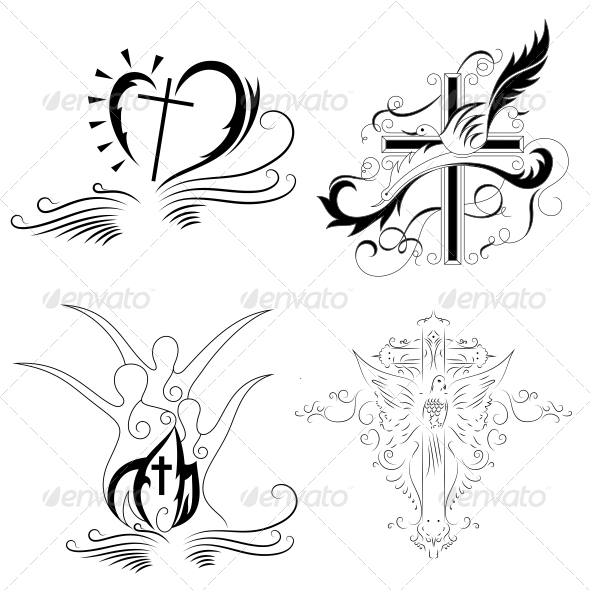590x590 Christian Cross Religious Vector Designs Pack By Vecras Graphicriver