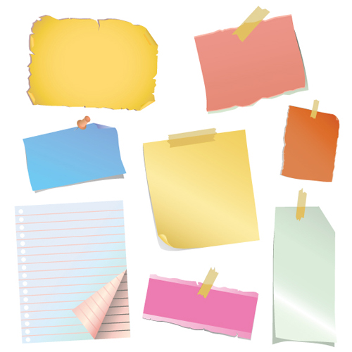 500x500 Multicolor Message Paper And Paper Clip Vector 01 Free Download