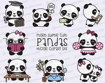 340x270 Premium Vector Clipart Kawaii Pandas Cute Pandas Clipart Etsy