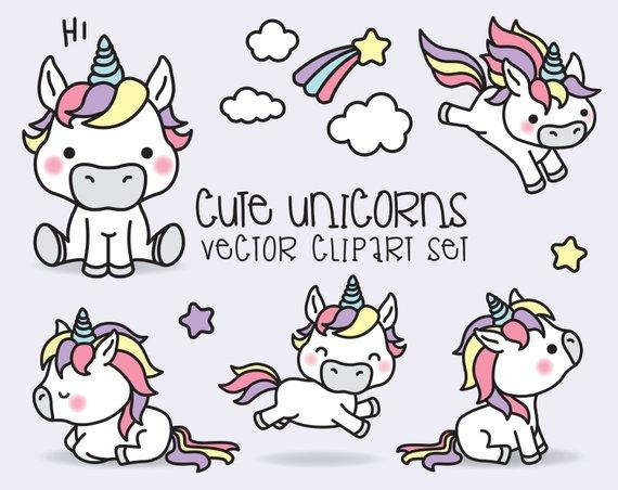 570x452 Premium Vector Clipart Kawaii Unicorns Cute Unicorns Etsy