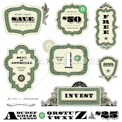 400x400 Vector Clipart Illustration Of Currency Frames