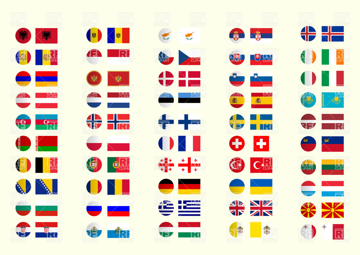 1200x850 European Flags And Button Icons Collection Vector Image Vector