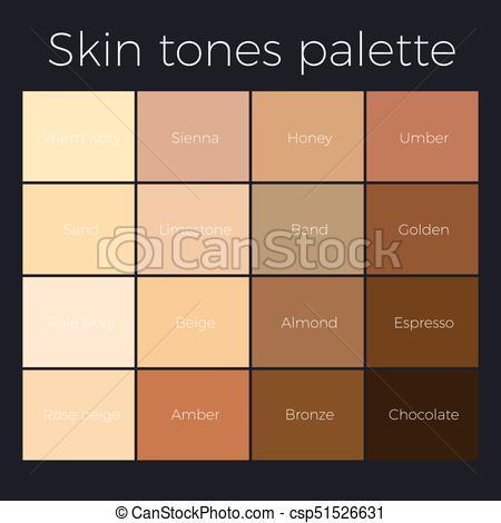 450x470 Skin Tones Palette Vector Skin Color Chart.