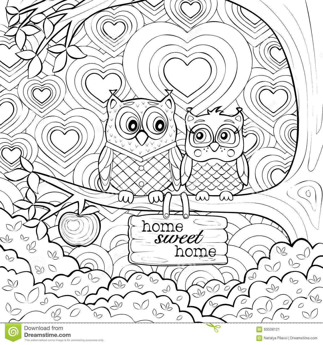 1300x1390 Cute Owls Art Therapy Coloring