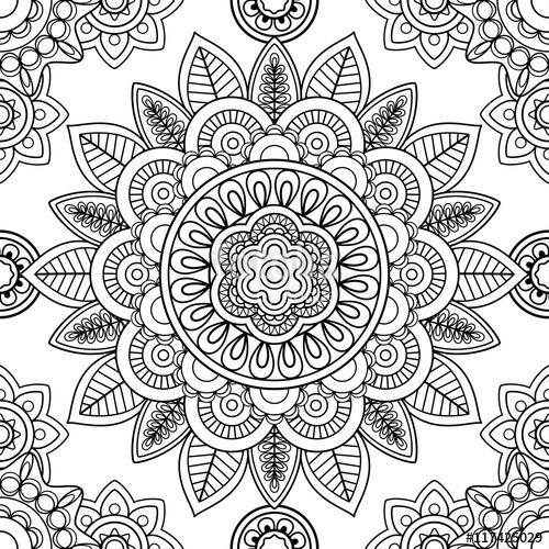 500x500 Ethnic Boho Seamless Pattern, Coloring Pages Template. Vector