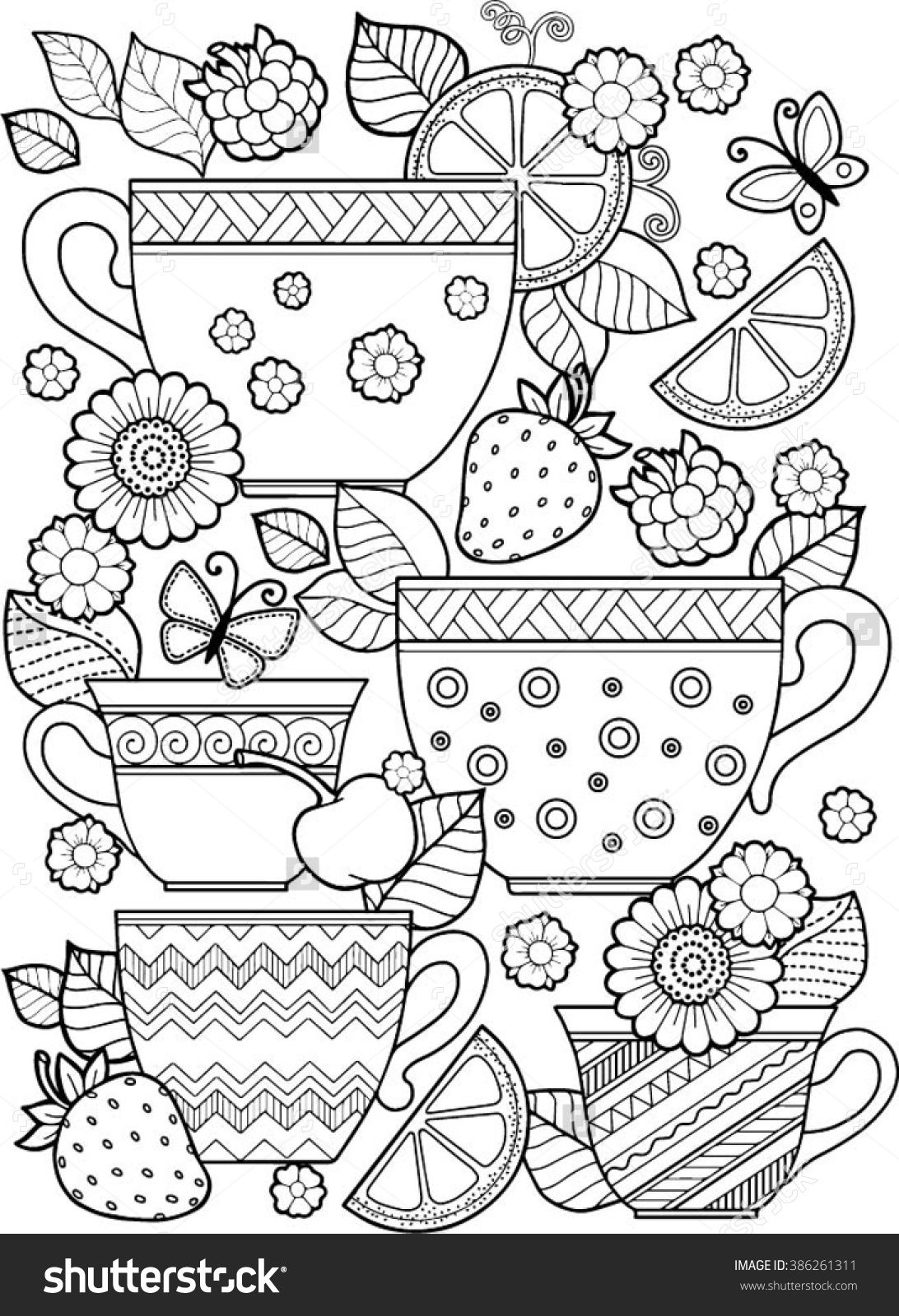 1092x1600 Hand Draw Vector Coloring Book For Adult. Teatime. Cups Of Tea