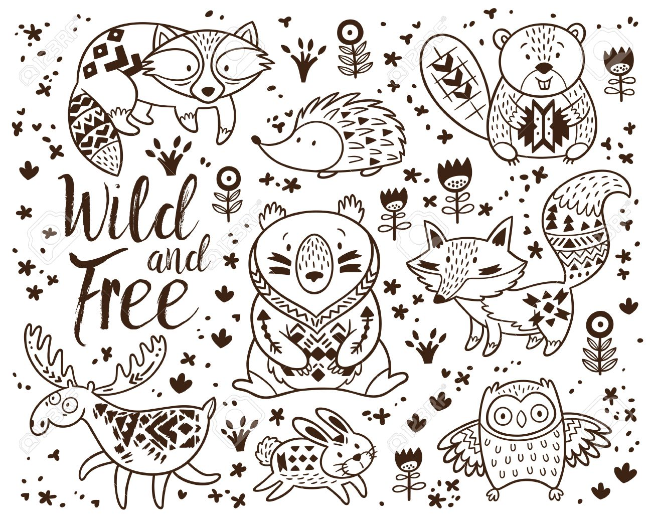 1300x1033 Inspiring Woodland Creatures Coloring Pages Animal For Kids Hand