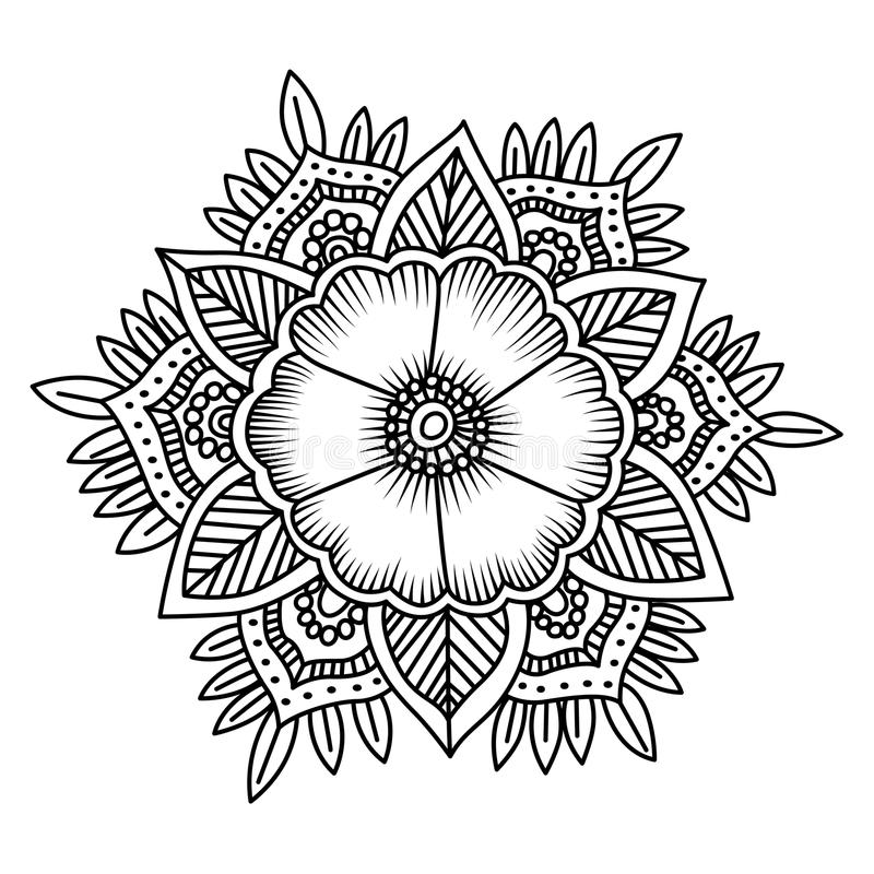 800x800 Mandala Flower Doodle Vector Illustration Coloring Pages Stock