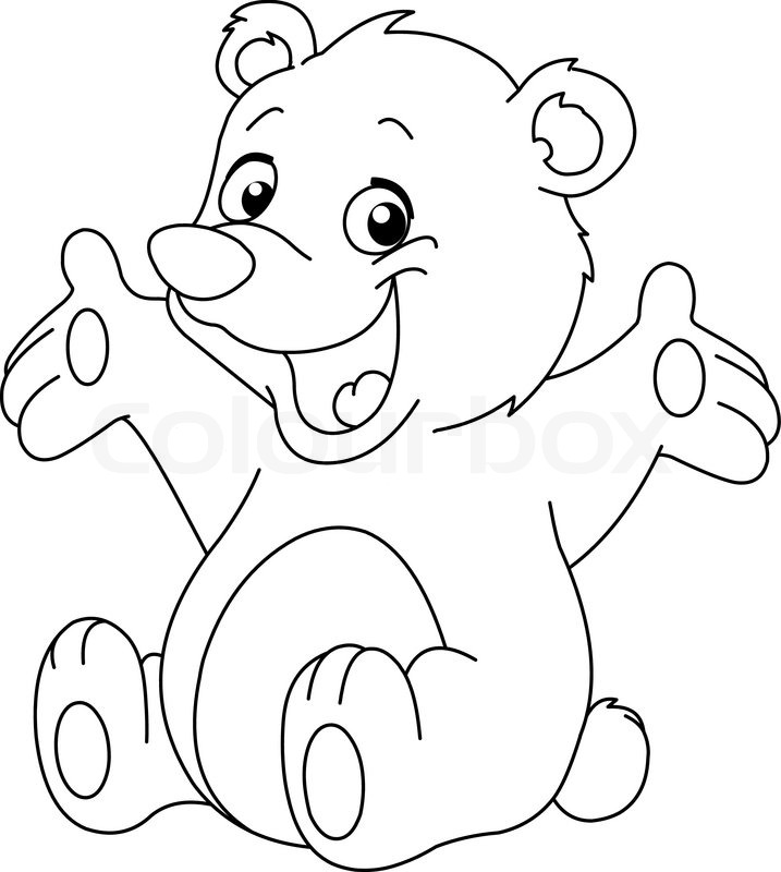 717x800 Outlined Happy Teddy Bear Raising His Arms. Coloring