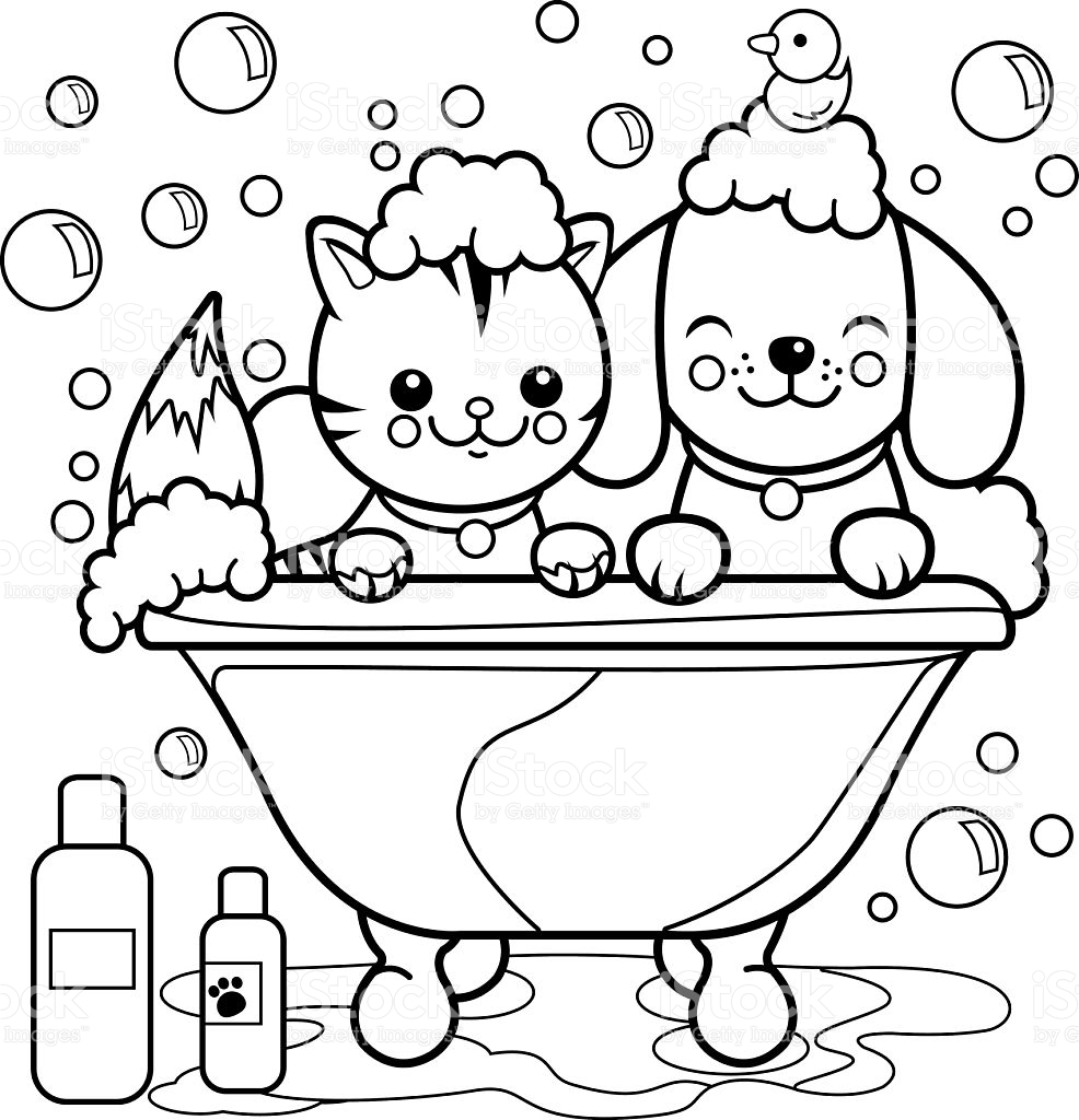 986x1024 Rare Cat And Dog Coloring Pages Taking A Bath