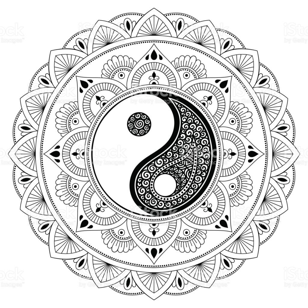 1024x1024 Vector Henna Tatoo Mandala Yinyang Decorative Symbol Mehndi Style