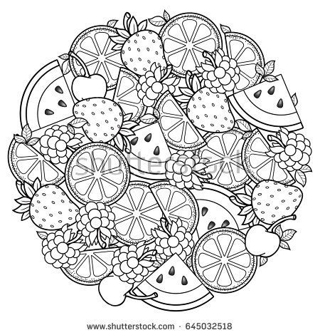 450x470 Vector Coloring Book For Adult, For Meditation And Relax. Round