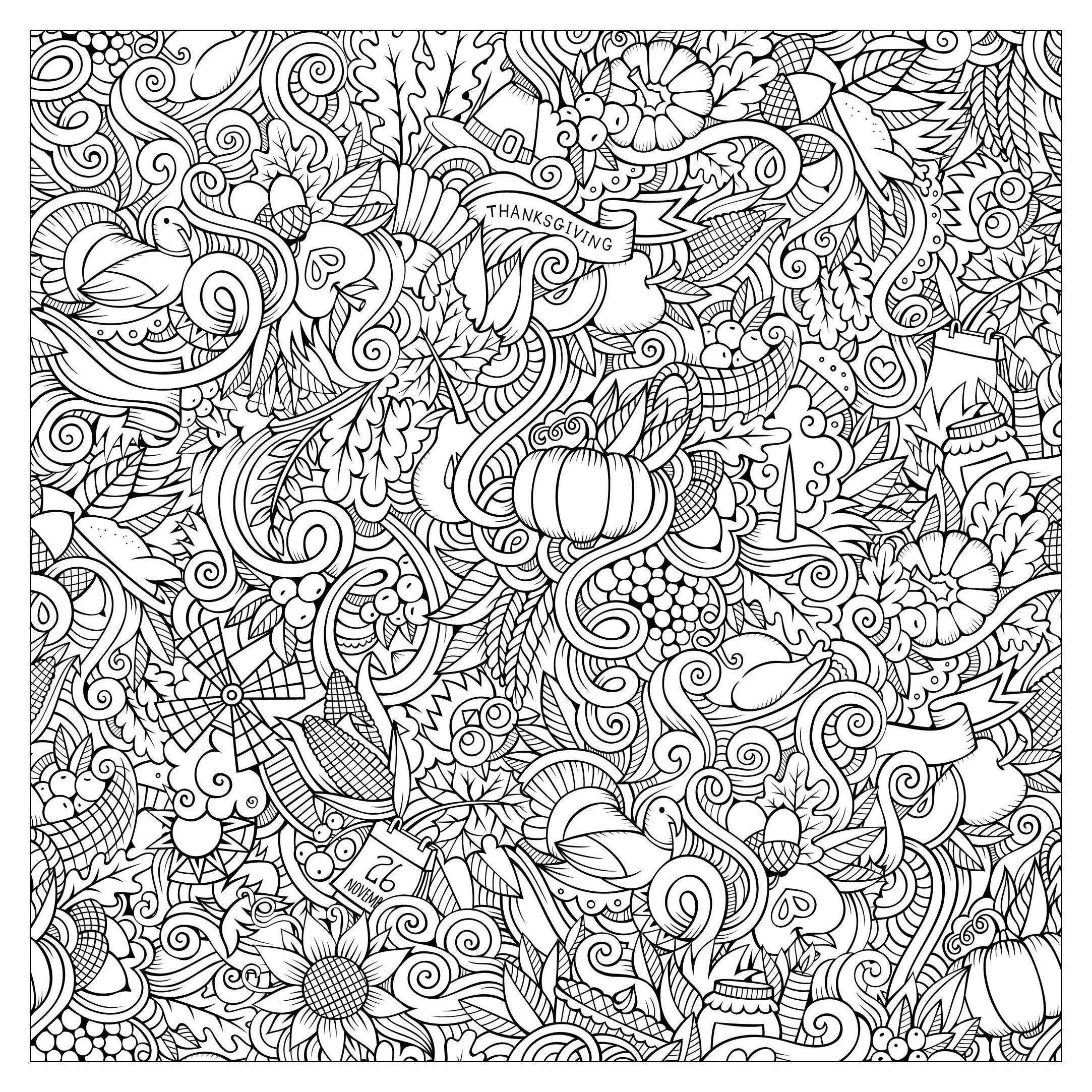 2166x2166 Cartoon Vector Hand Drawn Doodles Thanksgiving Autumn Symbols
