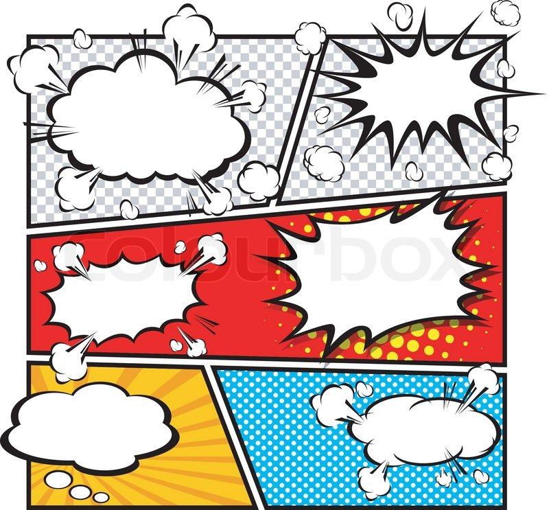 800x743 Comic Speech Bubble Template, Cartoon Illustrator Eps 10 Stock