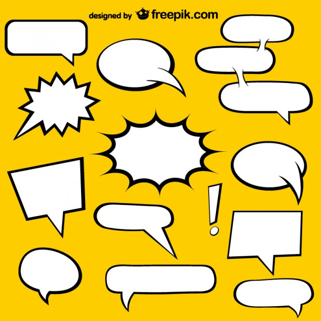 626x626 Comic Book Speech Bubbles And Yellow Background Vector Free Download