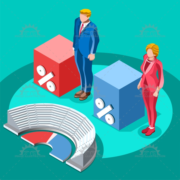690x690 Election Infographic Congress Meeting Vector Isometric People