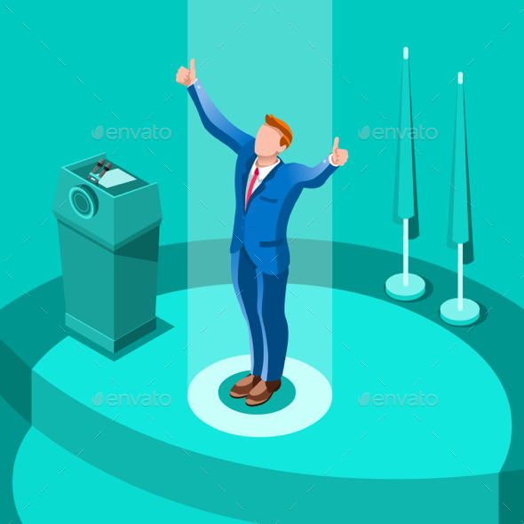 590x590 Election Infographic Party Conference Vector Isometric People By