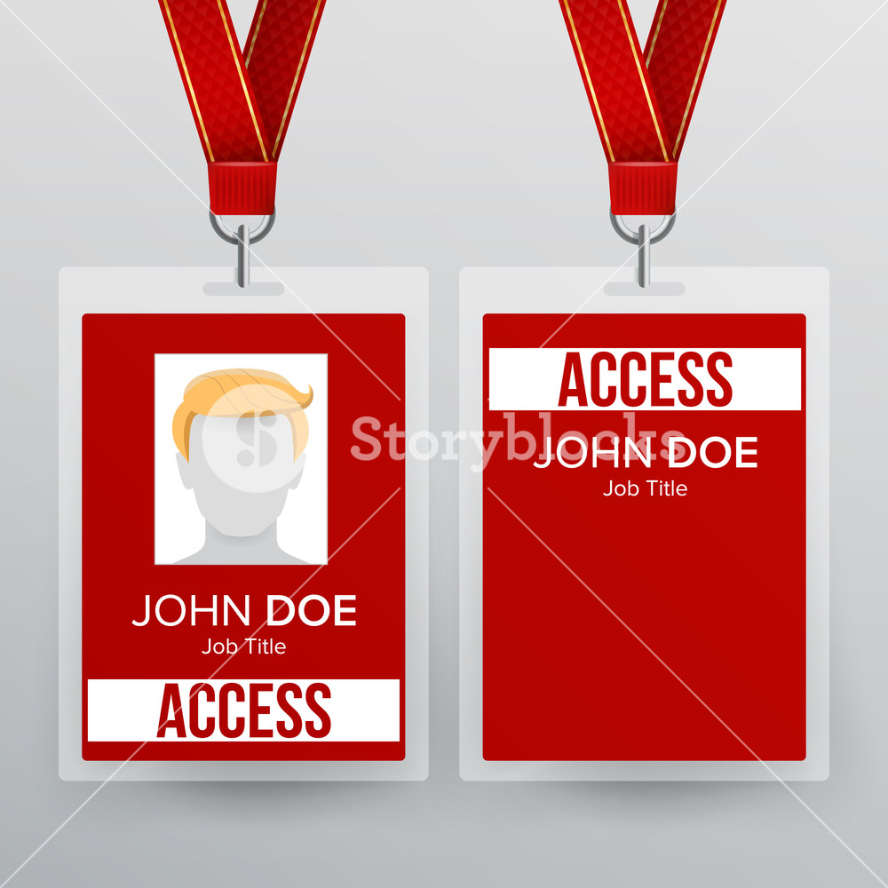 1000x1000 Press Pass Id Card Vector. Plastic Badge Template To Business