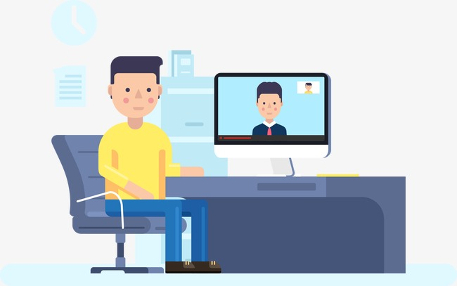 650x407 Vector Video Conference, Cartoon Man, Blue, Video Conference Png