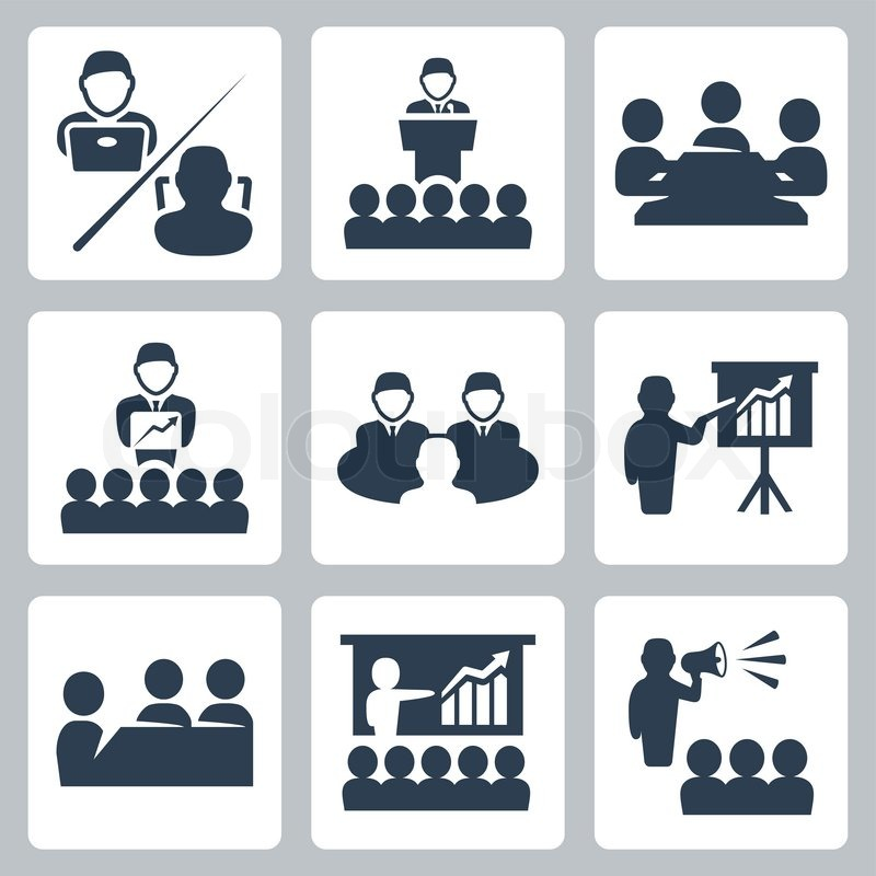 800x800 Vector Conference, Meeting Icons Set Stock Vector Colourbox